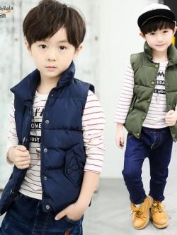 เสื้อกั๊กแจ็คเก็ตเด็กเกาหลี แนวพองๆ ดีไซน์เท่ มี5สี