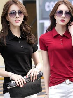 เสื้อโปโลแขนสั้นเกาหลี ทรงเข้ารูป แนวเซ็กซี่ มี4สี