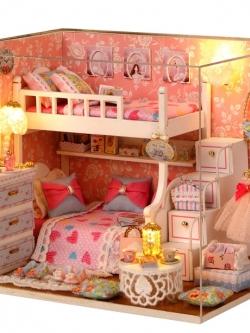 โมเดลบ้านในฝัน บ้านกล่องดนตรี DIY ของขวัญ/ของตกแต่งบ้าน วัสดุไม้ ตกแต่งไฟ LED