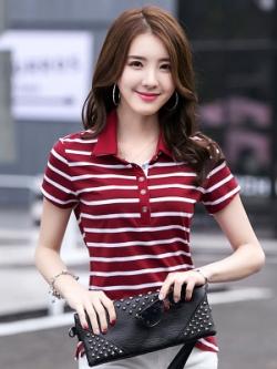 เสื้อโปโลแขนสั้นเกาหลี ลายขวาง ทรงเข้ารูป มี2สี