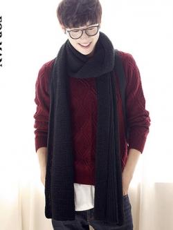 ผ้าพันคอเกาหลี ผ้าขนสัตว์ถักนิตติ้ง หนานุ่ม เรียบสวย มี2สี