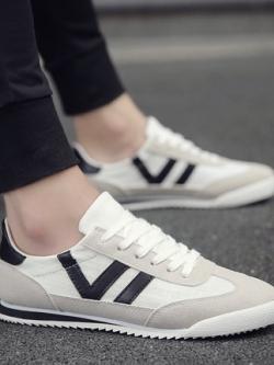 รองเท้าผ้าใบเกาหลี แต่งเส้นคาดด้านข้าง มี3สี