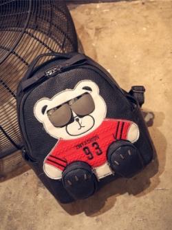 กระเป๋าสะพายเกาหลี แต่งรูปหมีใส่แว่น น่ารักมาก มี3สี
