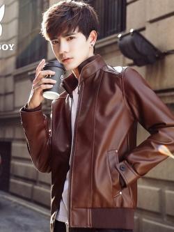 Pre Order เสื้อแจ็คเก็ตหนังแฟชั่น สุดเท่ห์แขนยาว มี2สี