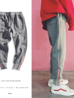 กางเกงขายาวเกาหลี แนว Sport แต่งแถบเส้นด้านล่าง