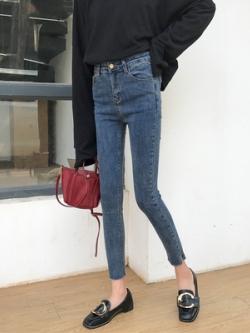 กางเกงยีนส์ขายาวสีน้ำเงิน ทรงดินสอ แนวSlim