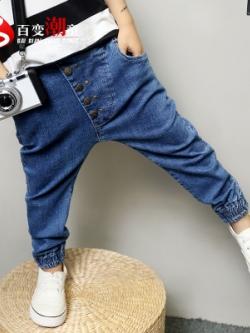 กางเกงยีนส์ขายาวเด็กเกาหลี แต่งกระดุมด้านหน้า