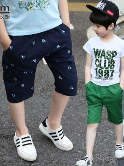 กางเกงขาสั้นเด็กเกาหลี แต่งลายทั้งตัว อินเทรนด์ มี4สี