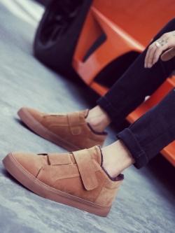 รองเท้าผ้าใบเกาหลี แต่งสายคาดเปิดปิด แนวลำลอง มี2สี