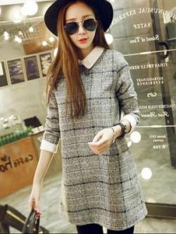 เสื้อแฟชั่นตัวยาวเกาหลี แขน5ส่วน สีเทาลายสก๊อต ผ้าหนานุ่มดีมาก แต่งคอเสื้อ