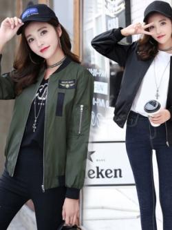 เสื้อแจ็คเก็ตเบสบอลเกาหลี แต่งซิบแขนเสื้อ มี2สี
