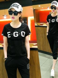 ชุดกีฬาเกาหลี EGO เสื้อแขนสั้น+กางเกง มี4สี