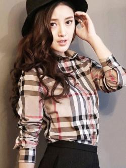 เสื้อเชิ้ตแขนยาวเกาหลี ลายสก๊อตBurberry ทรงSlim