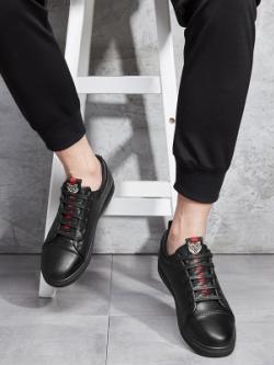 รองเท้าหนังเกาหลี ผูกเชือก แต่งโลโก้รูปเสือ มี2สี