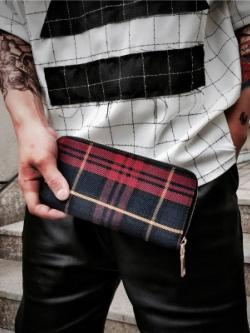 กระเป๋าสตางค์ใบยาวเกาหลี สีน้ำเงิน/แดง ลายสก๊อต ดีไซน์ซิบเปิดปิด