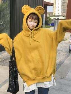 เสื้อแจ็คเก็ตแขนยาวเกาหลี แต่งฮู้ดมิคกี้ เชือกผูก มี3สี