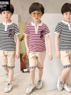 ชุดเซทเด็กเกาหลี เสื้อแขนสั้นลายขวาง+กางเกง มี2สี