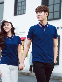 Pre Order เสื้อโปโลคู่รักแฟชั่น สไตล์เกาหลี แต่งลายคลาสสิก สีกรม