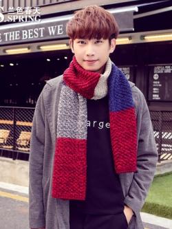 ผ้าพันคอเกาหลี ไหมพรมหนา แต่งลายสลับสี มี3สี