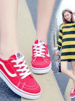 รองเท้าผ้าใบเกาหลี แต่งลายด้านข้าง แนวเบสบอล มี3สี