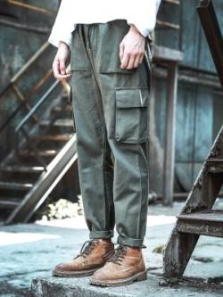 กางเกงขายาวเกาหลี แต่งกระเป๋าด้านข้าง ทรงหลวม มี2สี