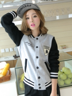 เสื้อแจ็คเก็ตเบสบอลเกาหลี แต่งโลโก้สวยเท่ มี4สี