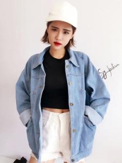 เสื้อยีนส์แจ็คเก็ตเกาหลี ทรงหลวม ดีไซน์กระเป๋าเสื้อ