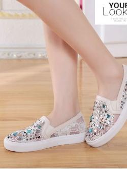 รองเท้าตาข่ายกันน้ำหุ้มส้นใส่ลำลองติดเพชรสี สไตล์เกาหลี