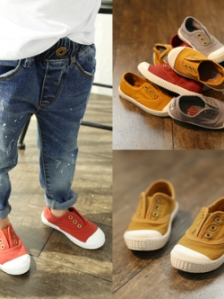 รองเท้าผ้าใบเด็กแบบสวมเกาหลี แนวลำลอง มี4สี