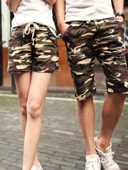 กางเกงคู่รักเกาหลี สีเขียวลายพรางทหาร แนวลำลอง