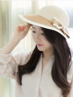 *** พร้อมส่ง *** หมวกไปเที่ยวทะเล/หมวกชายหาดสวยๆสไตล์สาวเกาหลีดีไซน์สีทูโทนโบว์ด้านข้าง