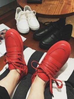 รองเท้าผ้าใบเกาหลี แนวสเก็ตบอร์ด แต่งเชือกผูก มี3สี