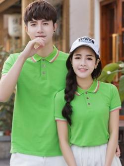 Pre Order เสื้อโปโลคู่รักแฟชั่น สไตล์เกาหลี แต่งลายคลาสสิก สีเขียวอ่อน