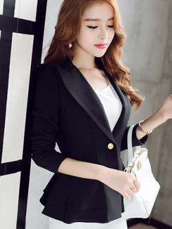 เสื้อสูทแขนยาวเกาหลี แต่งปลายเลเยอร์ มี3สี