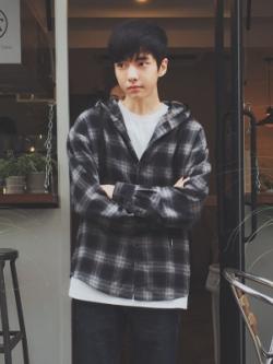 เสื้อคลุมแจ็คเก็ตเกาหลี ลายสก็อต มีฮู้ด แนวลำลอง มี3สี