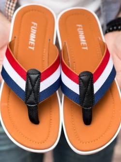 รองเท้าแตะคีบเกาหลี แต่งแถบสีคาดสลับสี มี4สี
