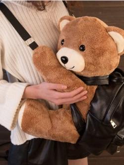 กระเป๋าสะพายหลังเกาหลี สีดำ แต่งตุ๊กตาหมีน้ำตาลน่ารัก มี2ขนาด