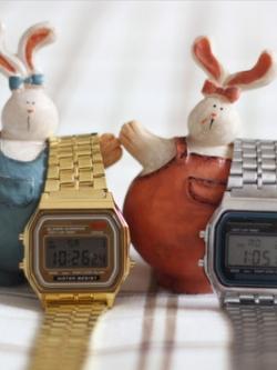 นาฬิกาข้อมือเกาหลี แนวดิจิตอลวินเทจ ดีไซน์โลหะ มี4แบบ