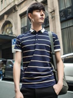เสื้อโปโลแขนสั้นเกาหลี แต่งเส้นลายขวาง มี3สี