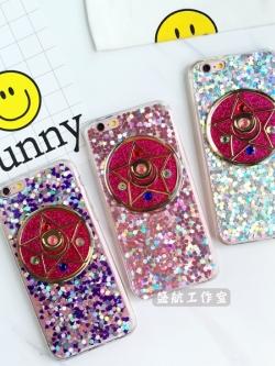 เคสไอโฟน 6/6S/6Plus เคสเซเลอร์มูนดาวห้าแฉกเนื้อนิ่ม งานแฮนด์เมดแนวกลิตเตอร์ iPhone6/6s/6Plus Case