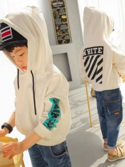 เสื้อฮู้ดแขนยาวเด็กเกาหลี แต่งพิมพ์ลาย WHITE