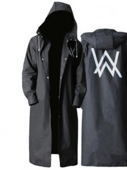 เสื้อฮู้ดกันฝนตัวยาวสีดำ สกรีนลายด้านหลัง จั้มแขน