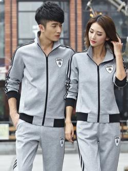 ชุดวอร์มกีฬาเกาหลี ผ้ากำมะหยี่หนา เสื้อแจ็คเก็ตแขนยาว+กางเกง มี3สี