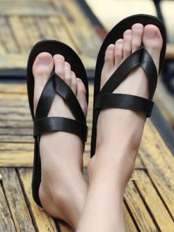 รองเท้าแตะคีบเกาหลี แต่งสายรัดคาดรูปสามเหลี่ยม มี3สี