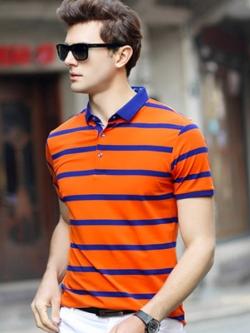 เสื้อโปโลแขนสั้นเกาหลี สไตล์ยุโรป แต่งลายขวาง มี3สี