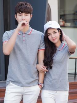 Pre Order เสื้อโปโลคู่รักแฟชั่น สไตล์เกาหลี แต่งลายคลาสสิก สีเทาอ่อน
