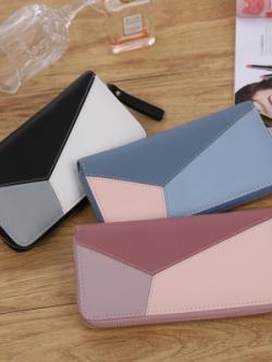 กระเป๋าสตางค์เกาหลี ใบยาว ดีไซน์สลับสี มี3สี