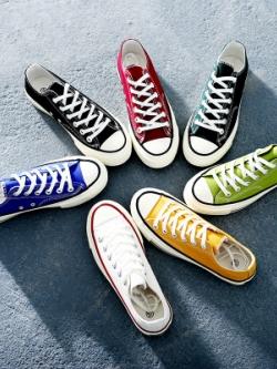 รองเท้าผ้าใบเกาหลี แต่งขอบลายเส้น สีสันสดใส มี7สี
