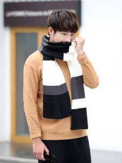 ผ้าพันคอเกาหลี แต่งสลับสี ผ้าหนานุ่ม