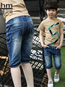 กางเกงยีนส์ขาสั้นเด็กเกาหลี สีน้ำเงิน แต่งกระเป๋ากางเกง